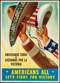 "World War II Propaganda (U.S. Government Printing Office, 1943). OWI Poster No. 65 (20"" X 28"") ""Americans..."