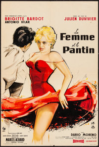 "A Woman Like Satan (Pathe, 1958). French Petite (16"" X 23.5"") Yves Thos Artwork. Bad Girl"