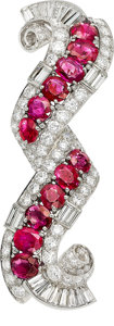 Estate Jewelry:Brooches - Pins, Burma Ruby, Diamond, Synthetic Ruby, Platinum, Gold Brooch . ...