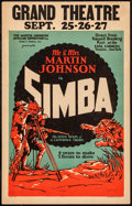 "Movie Posters:Documentary, Simba: The King of the Beasts (Martin Johnson African Expedition Corp., 1928). Window Card (14"" X 22""). Documentary.. ..."