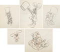 Animation Art:Production Drawing, Alice in Wonderland Mad Hatter's Tea Party SequenceAnimation Drawings Group of 5 (Walt Disney, 1951).... (Total: 5Items)