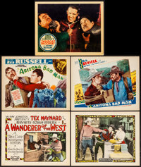 """A Wanderer of the West & Others Lot (Rayart Pictures, 1927). Title Lobby Cards (2) & Lobby Cards (3) (11"""" X..."""