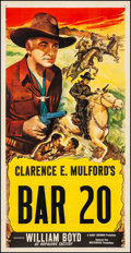 "Movie Posters:Western, Bar 20 (Masterpiece Productions, R-1940s). Stock Three Sheet (41"" X 80.5""). Western.. ..."