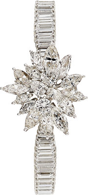 Lady's Omega Diamond, Platinum Covered Dial watch