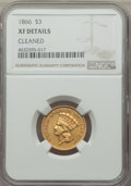 Three Dollar Gold Pieces, 1866 $3 -- Cleaned -- NGC Details. XF. NGC Census: (1/172). PCGS Population: (10/169). CDN: $1,100 Whsle. Bid for problem-f...