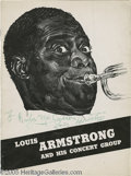 "Music Memorabilia:Autographs and Signed Items, Louis Armstrong Signed Program. Featured is a program for ""LouisArmstrong and His Concert Group,"" signed by the legendary j..."