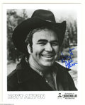 """Music Memorabilia:Autographs and Signed Items, Hoyt Axton Signed Photograph. An 8"""" x 10"""" black and white photosigned by the singer/songwriter/actor in blue marker. With..."""