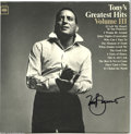 """Music Memorabilia:Autographs and Signed Items, Tony Bennett Signed """"Tony's Greatest Hits Vol. III"""" LP Columbia2373 Stereo (1960). This signed copy of one of the crooner's..."""