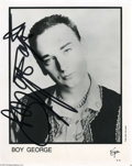 Music Memorabilia:Autographs and Signed Items, Boy George Signed Photograph. As the lead singer of the '80s group Culture Club, British singer Boy George combined a soulfu...