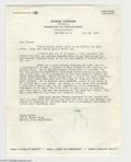 Music Memorabilia:Autographs and Signed Items, Irving Caesar Signed Letter. One of George Gershwin's closestprofessional friends, Irving Caesar composed several standards...
