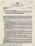 Music Memorabilia:Autographs and Signed Items, Hoagy Carmichael Signed Contract. A one-page, double-sided standardWilliam Morris engagement contract, dated September 11, ...