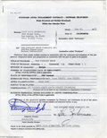 Music Memorabilia:Autographs and Signed Items, Sammy Davis Jr. Signed Contract. Here is a standard AFTRA engagement contract engaging singer and actor Sammy Davis Jr. to a...