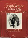 """Music Memorabilia:Autographs and Signed Items, John Denver Signed Ad. Signed full-page color promo ad fromBillboard (November 12, 1977) for """"I Want to Live,"""" signed i..."""