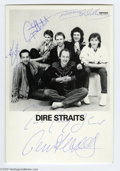 "Music Memorabilia:Autographs and Signed Items, Dire Straits Signed Photograph. A 3"" x 5"" black-and-white photo ofthe Australian rock band, signed by bandmembers Mark Knop..."