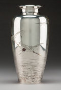 Asian:Japanese, A Japanese Silver Vase with Flying Cranes Motif, circa 1920. Marks:(Jungin mark), (studio mark), (artist's signature). 8-1/...
