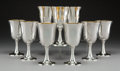 Silver Holloware, American:Water Goblet, A Set of Nine R. Wallace & Sons Partial Gilt Silver Goblets,Wallingford, Connecticut, mid-20th century . Marks:(RW-stag-&S... (Total: 9 Items)