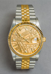 A Gentleman's Wristwatch Inlaid with a Gold-Plated Gibeon Meteorite Slice Marks: STAINLESS STEEL, METEORITE