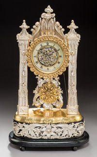 An Austrian Gothic Gilt and Silvered Metal Musical Mantle Clock with Franz Einsidl Cylinder Movement, Vienna, second