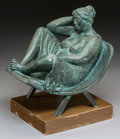 Sculpture, Carlos Aguirre (Columbian, b. 1968). Mujer Sentada, 1978. Bronze with green patina. 11-1/2 inches (29.2 cm) high on a 2 ...
