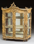 Decorative Arts, French, A Diminutive Louis XV Glazed Giltwood Vitrine Cabinet, 18thcentury. 22-1/2 x 17-1/2 x 9-3/4 inches (57.2 x 44.5 x ...