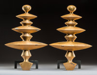A Pair of Carole Gratale Modernist Bronze and Iron Chenets, late 20th century 18 x 12-1/4 x 8 inches (4