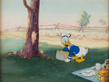 Animation Art:Production Cel, Donald's Penguin Donald Duck Production Cel on Studio Production Background (Walt Disney, 1939)....