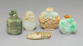 Asian:Chinese, Five Various Chinese Carved Jade, Jadeite, and Hardstone SnuffBottles Including Cicada Toggle. 3-3/8 inches (8.6 c...