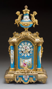 A French Louis XV-Style Gilt Bronze Clock with Sèvres-Style Porcelain Mounts, late 19th century Marks to movement...