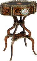 Furniture , A Napoleon III Marquetry, Lacquered Wood, and Gilt Bronze Combination Jardinière Work Table, circa 1870. 30-1/2 x 21 x 15-1/...