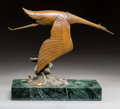 Sculpture, Francois Bazin (French, 1897-1956). Hispano-Suiza Bird. Bronze with brown patina. 12 inches (30.5 cm) high on a 2 inches...