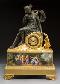 A Fine French Empire Gilt and Patinated Bronze Figural Clock Depicting Diana and Hound with Allegorical Porcelain Frieze...