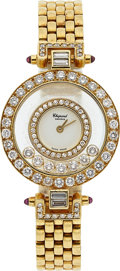 Estate Jewelry:Watches, Chopard Lady's Diamond, Ruby, Gold Happy Diamonds Watch. ...