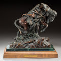 Sculpture, Ken Payne (American, b. 1938). Judas Bull, 1992. Bronze with brown patina. 13-1/2 inches (34.3 cm) high on a 3 inches (7...