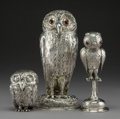 Silver & Vertu:Hollowware, Three English and German Silver Owl-Form Covered Canisters, mid-late 19th century. Marks: (various). 9 inches (22.9 cm) (tal... (Total: 3 Items)