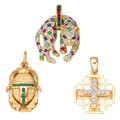 Estate Jewelry:Pendants and Lockets, Diamond, Multi-Stone, Gold Pendants . ... (Total: 3 Items)