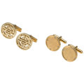 Estate Jewelry:Cufflinks, Diamond, Gold Cuff Links. ... (Total: 2 Items)