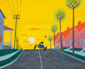 Animation Art:Concept Art, Susie the Little Blue Coupe Color Key Concept Painting byMary Blair (Walt Disney, 1952)....