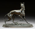 Sculpture, After Arthur Waagen (French/German, 1833-1898). Whippet. Bronze with brown patina. 16 inches (40.6 cm) high. Inscribed o...