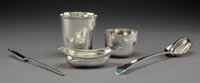 A Paul Storr Partial Gilt Silver Pap Boat with Four English and Continental Silver Table Articles, late 18th-19th cen