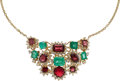 Estate Jewelry:Necklaces, Diamond, Emerald, Spinel, Gold Necklace. ...