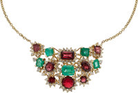 Diamond, Emerald, Spinel, Gold Necklace