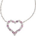 Estate Jewelry:Necklaces, Diamond, Pink Sapphire, Platinum, White Gold Necklace. ...
