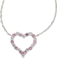 Diamond, Pink Sapphire, Platinum, White Gold Necklace