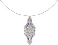 Estate Jewelry:Pendants and Lockets, Diamond, Synthetic Sapphire, Platinum, White Gold Pendant-Necklace....