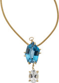 Estate Jewelry:Pendants and Lockets, Blue Topaz, Aquamarine, Gold Pendant-Necklace. ...