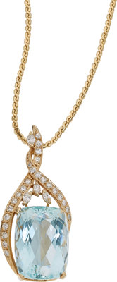 Aquamarine, Diamond, Gold Pendant-Necklace
