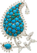 Estate Jewelry:Brooches - Pins, Diamond, Turquoise, Platinum, Gold Clip-Brooch . ...