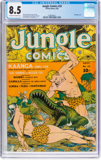 Jungle Comics #33 (Fiction House, 1942) CGC VF+ 8.5 Off-white to white pages