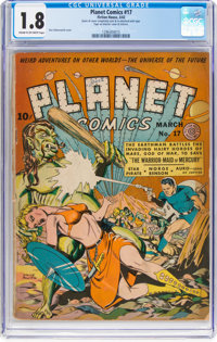 Planet Comics #17 (Fiction House, 1942) CGC GD- 1.8 Cream to off-white pages