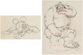 Animation Art:Production Drawing, Brave Little Tailor Mickey Mouse and the Giant Animation Drawings Group of 2 (Walt Disney, 1938).... (Total: 2 Original Art)